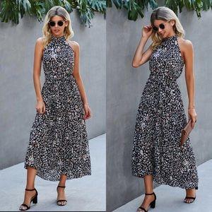 Boho dot  belted halter dress